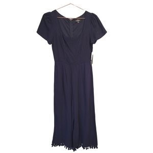 Lulu's | Linen Wide Leg Round Neck Cropped Jump Suit Navy Blue NWT